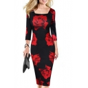 Women's Fashion Square Neck 3/4 Sleeve Floral Print Midi Dress