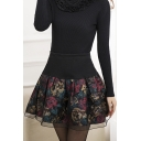 Women's Stretch High Waist Pleated Lace Tulle Casual Skirt