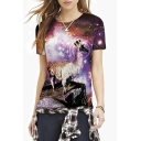 Unisex Printed Short Sleeve Jersey Crewneck T-Shirt Top for Couple
