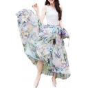 Full/ankle Length Elastic Pleated Retro Maxi Chiffon Bohemian Long Skirt