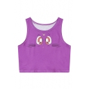 Women's Lovely Cartoon Cat Face Printed Seamed Trim Crop Tank