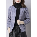 Chic Casual Round Neck Open-Front Contrast Plaid Coat with Two Pockets