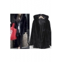Fashion Plain Hooded Long Sleeve Tunic Faux Fur Coat