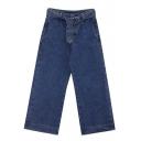 Retro Style Belt High Waist Plain Straight Wide-Leg Jeans