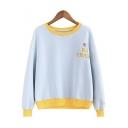 Round Neck Long Sleeve Color Block Letter Print Basic Sweatshirt