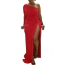 Sexy Plus Size One shoulder Long Sleeve High Slits Maxi Dress