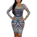 Women Sexy Traditional African Print Dashiki Bodycon Sexy Long Sleeve Dress
