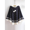 New Hooded Boat Anchor Print Striped Contrast Hem Woolen Cape