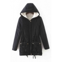 Women's Winter Hooded Zip Placket Warm Cotton Coat