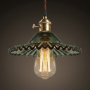 Industrial Botanic One Light Hallway Pendant with Green Glass Shade