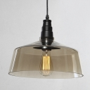 Classic Warehouse Glass Shade 1-Light Ceiling Fixture in Black