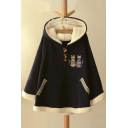 Women's Cute Cat Embroidery Long Sleeve Buttons Front Winter's Cape Coat