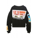 Loose Letter Printed Graphic Patchwork Pullover Sweatshirt