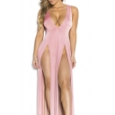 Women'S Sexy V Neck Side Split Club Dress Bandage Bodycon Party Dress