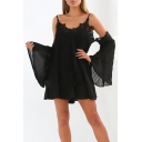 Women Fashion Flare Sleeve Cold Shoulder Sexy Mini Slip Lace Dress