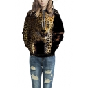 Unisex Simulation Printing Leopard Pocket Hooded Sweatshirt