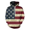 Unisex Fashion USA American Flag Print Slim Pullover Hoodie Sweatshirt