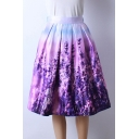 Women's Printed Pleated Flared Midi Skirt