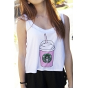 Women's Starbucks Printed High and Low Crop Tank Top