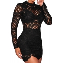 Women's Long Sleeve Lace High Neck Party Club Mini Dress