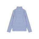 High Neck Long Sleeve Stripe Print Women's Basic Tee