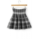 High Rise Women's A-Line Knit Pleated Mini Skirt