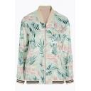 Botanical Print Long Sleeve Stand-Up Collar Fashion Baseball Coat