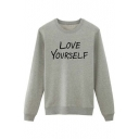 Letter Print Long Sleeve Round Neck Women's Basic Pullover Sweatshirt