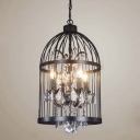 Wrought Iron Industrial 4-Light Cage Shaped Bedroom Pendant