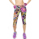 Performance Activewear - Printed Yoga Capri Work-out Leggings