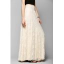 Women's Casual High Waist Floral Lace Maxi Skirt