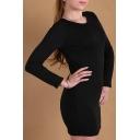 Women's Round Neck Long Sleeve Oversize Bodycon Plain Mini Dress