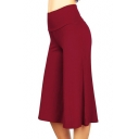 Fashionable Solid Color High Rise Full Length Wide-leg Pants for Women