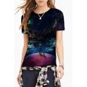 Women's Fashion Digital Galaxy Print Round Neck Short Sleeve Basic T-Shirt
