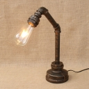 Modern Lighting Industrial One Light Metal Pipe Aged Bronze Desk Lamp