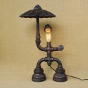 Vintage Pipe Designed Wall Sconces Industrial Novel Hallway Lighting in Shape of Doll with Umbrella