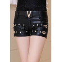 Women's Sexy Crystal Insert Leather PU Shorts
