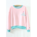Women's Round Neck Long Sleeve Color Block Letter Print Casual Sweatshirt