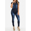 Women's Juniors Cap-Sleeve Denim Jumpsuit with Button-Down Front