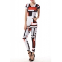 Fashion Round Neck Short Sleeve Square Color Block Printed Jumpsuits