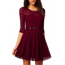 Round Neck 1/2 Sleeve Lace Pleated Dress