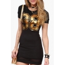 Women's Sexy Mesh Patchwork 98 Number Printed Round Neck Short Sleeve T-Shirt Mini Dress