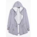Unisex Plain Drawstring Hooded Open Front Long Sleeve Cape with Two Pockets