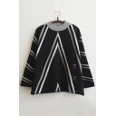 New Stylish Contrast Round Neck Striped Split Sides Color Block Sweater