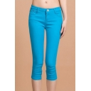 Colorful Soft Stretch Skinny Jean Capri Pants