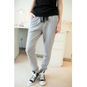 Fashion Drawstring Waist Plain Skinny Sports Pants