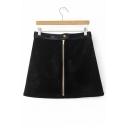 Chic Contrast Waist Zipper Front Velvet Plain A-Line Skirt