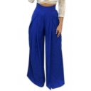 Women's Casual Wide Leg Long Trousers Solid Loose Flare Palazzo Pants