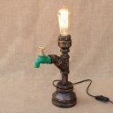 Industrial Decorative Metal Pipe Bedside Table Lamp with 1 Light