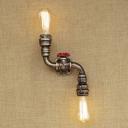 Vintage Rustic Old Bronze Pipe 2-Light Sconces Indoor Lighting